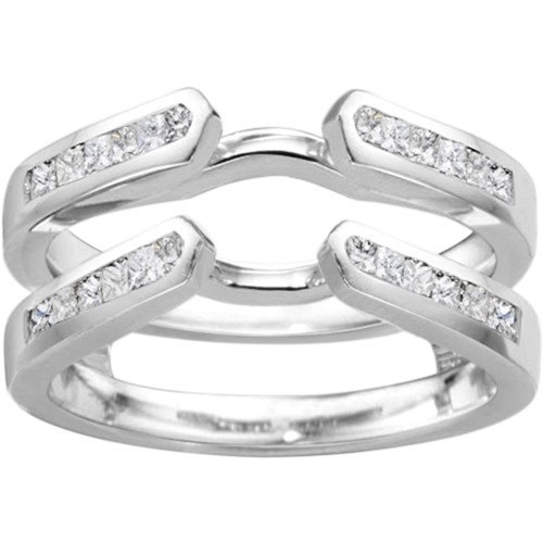 classic channel set cathedral princess 74ct cz sterling
